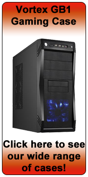Vortex GB1 Shiny Black Mid Tower Case - Blue LED Fan - (Micro-AT