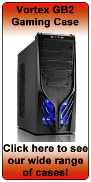 Vortex GB2 Shiny Black Gaming Tower Case - Blue LED Fan - (Micro