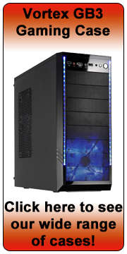 Vortex GB3 Shiny Black Gaming Tower Case - Blue LED Fan - (Micro