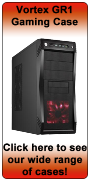 Vortex GR1 Shiny Black Mid Tower Case - Red LED Fan - (Micro-ATX