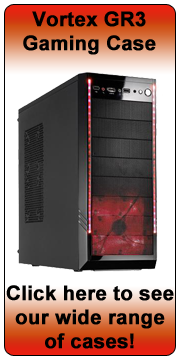 Vortex GR3 Shiny Black Gaming Tower Case - Red LED Fan - (Micro-
