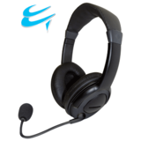 Multimedia stereo headset featuring a boom microphone (Black)