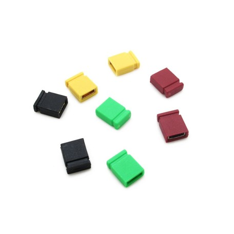 "Header Jumper Links 2.54mm 0.1"" PCB Motherboard HDD Short Length with Test Point on Top Various Colours Black Yellow Green Red"