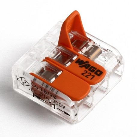 221-413 Wago 3-Wire Transparent Connector Quick Connect