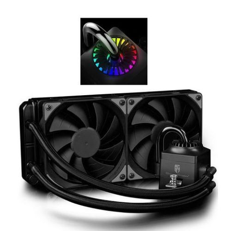 Deepcool GamerStorm Captain 240EX RGB Liquid CPU Cooler, 240mm Radiator, 2 x 12cm Fans, RGB Lighting, Aura Sync