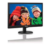 "Philips 18.5"" Widescreen TN W-LED Black Monitor (1366x768/5ms/VGA)"
