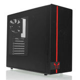 Riotoro Gaming Case with Window, ATX, No PSU, 2 x 12cm Fans (Red LED Front Fan), USB 3.0, Black & Red