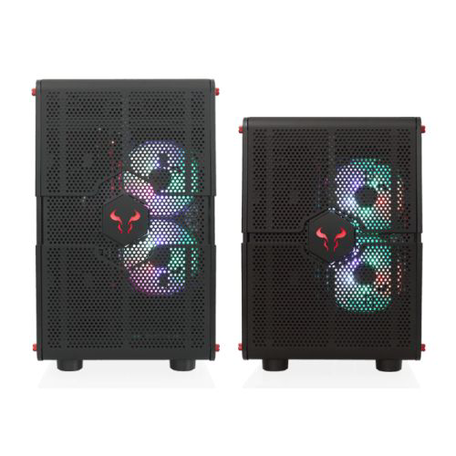 Riotoro Morpheus Convertible Mini-to-Mid Tower Case, < EATX MB, Perforated Mesh, Red LED Fans, USB-C, Dual Chamber, Tool-less